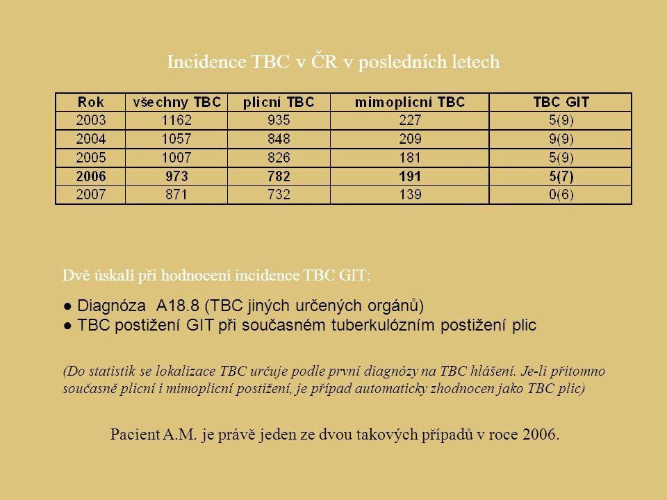 Incidence TBC v ČR v posledních letech Dvě úskalí při hodnocení incidence TBC GIT: ● Diagnóza A18.8 (TBC jiných určených orgánů) ● TBC postižení GIT p