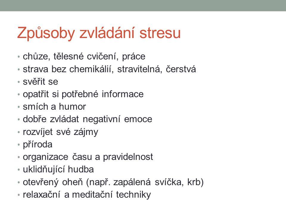 Způsoby zvládání stresu chůze, tělesné cvičení, práce strava bez chemikálií, stravitelná, čerstvá svěřit se opatřit si potřebné informace smích a humo