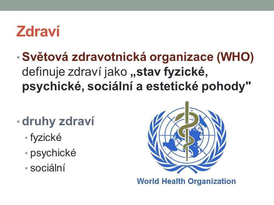 """Zdraví Světová zdravotnická organizace (WHO) definuje zdraví jako """"stav fyzické, psychické, sociální a estetické pohody"""