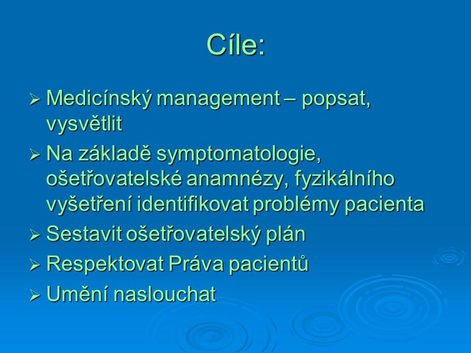 Cíle:  Medicínský management – popsat, vysvětlit  Na základě symptomatologie, ošetřovatelské anamnézy, fyzikálního vyšetření identifikovat problémy