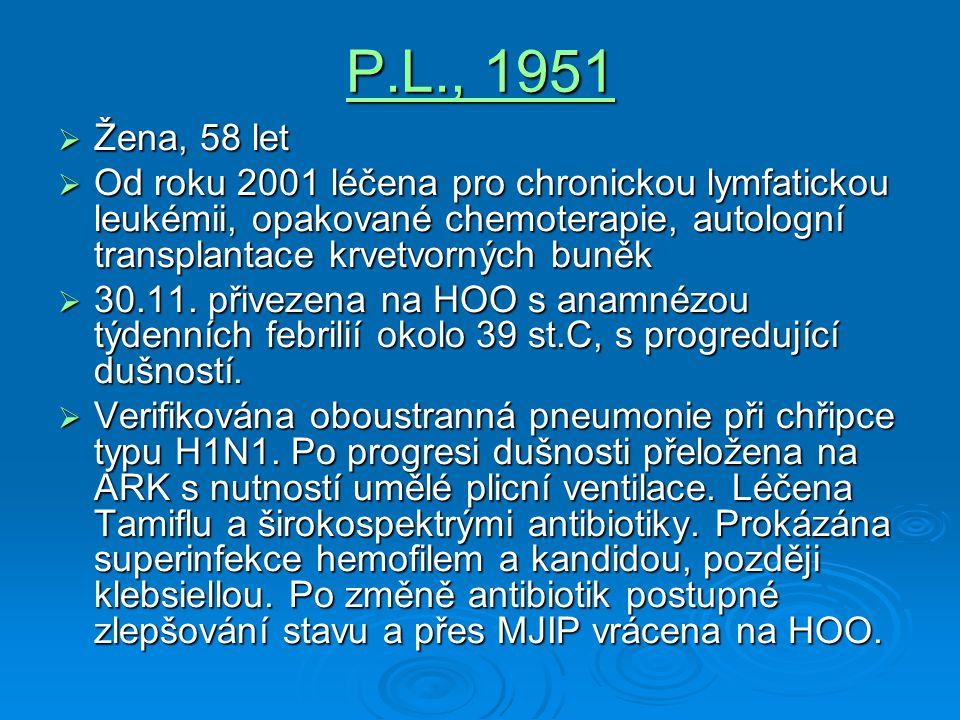 P.L., 1951  Žena, 58 let  Od roku 2001 léčena pro chronickou lymfatickou leukémii, opakované chemoterapie, autologní transplantace krvetvorných buně