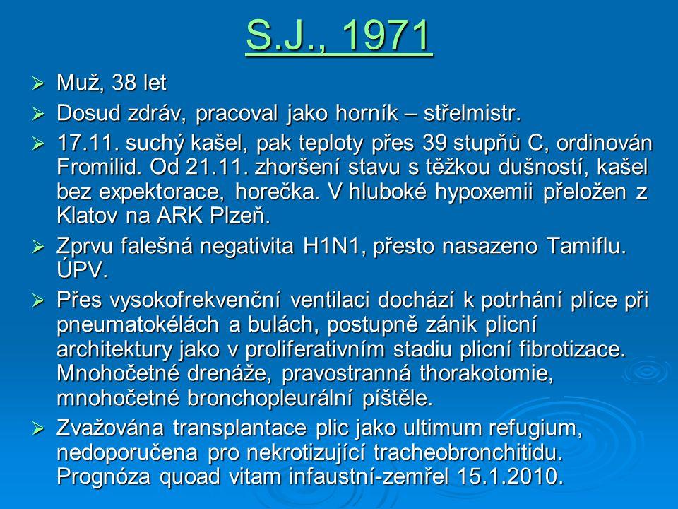 S.J., 1971  Muž, 38 let  Dosud zdráv, pracoval jako horník – střelmistr.  17.11. suchý kašel, pak teploty přes 39 stupňů C, ordinován Fromilid. Od