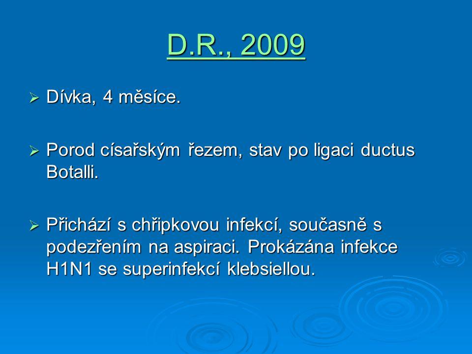 D.R., 2009  Dívka, 4 měsíce.  Porod císařským řezem, stav po ligaci ductus Botalli.  Přichází s chřipkovou infekcí, současně s podezřením na aspira