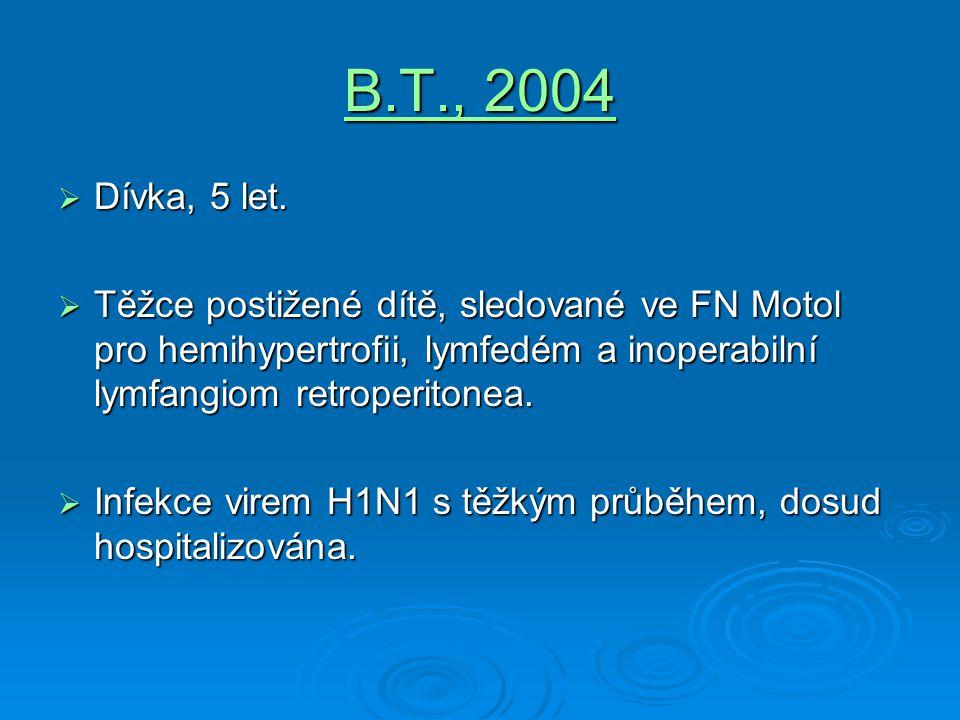 B.T., 2004  Dívka, 5 let.  Těžce postižené dítě, sledované ve FN Motol pro hemihypertrofii, lymfedém a inoperabilní lymfangiom retroperitonea.  Inf