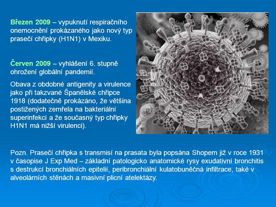 Březen 2009 – vypuknutí respiračního onemocnění prokázaného jako nový typ prasečí chřipky (H1N1) v Mexiku. Červen 2009 – vyhlášení 6. stupně ohrožení