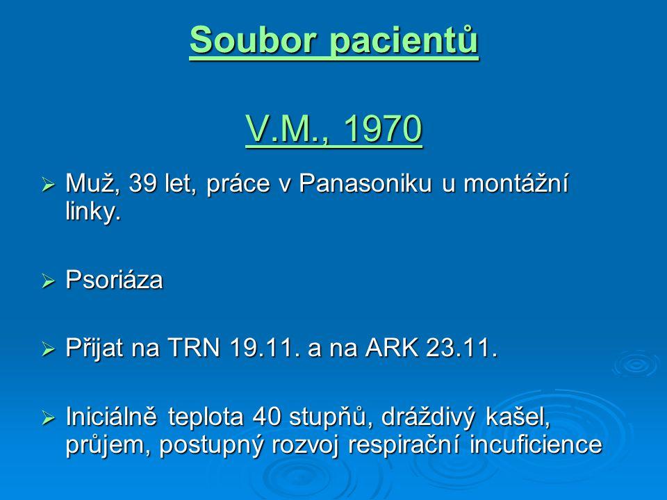 Soubor pacientů V.M., 1970  Muž, 39 let, práce v Panasoniku u montážní linky.  Psoriáza  Přijat na TRN 19.11. a na ARK 23.11.  Iniciálně teplota 4