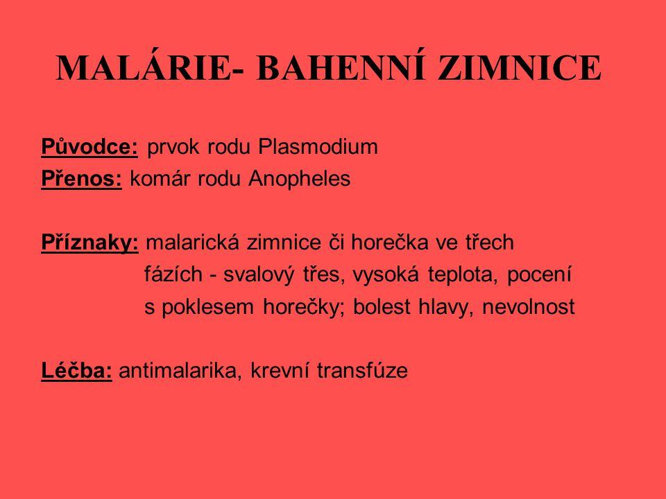 MALÁRIE- BAHENNÍ ZIMNICE Původce: prvok rodu Plasmodium Přenos: komár rodu Anopheles Příznaky: malarická zimnice či horečka ve třech fázích - svalový třes, vysoká teplota, pocení s poklesem horečky; bolest hlavy, nevolnost Léčba: antimalarika, krevní transfúze