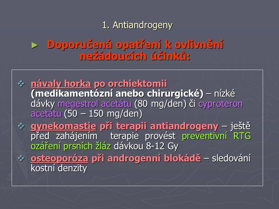 1. Antiandrogeny ► Doporučená opatření k ovlivnění nežádoucích účinků:  návaly horka po orchiektomii (medikamentózní anebo chirurgické) – nízké dávky