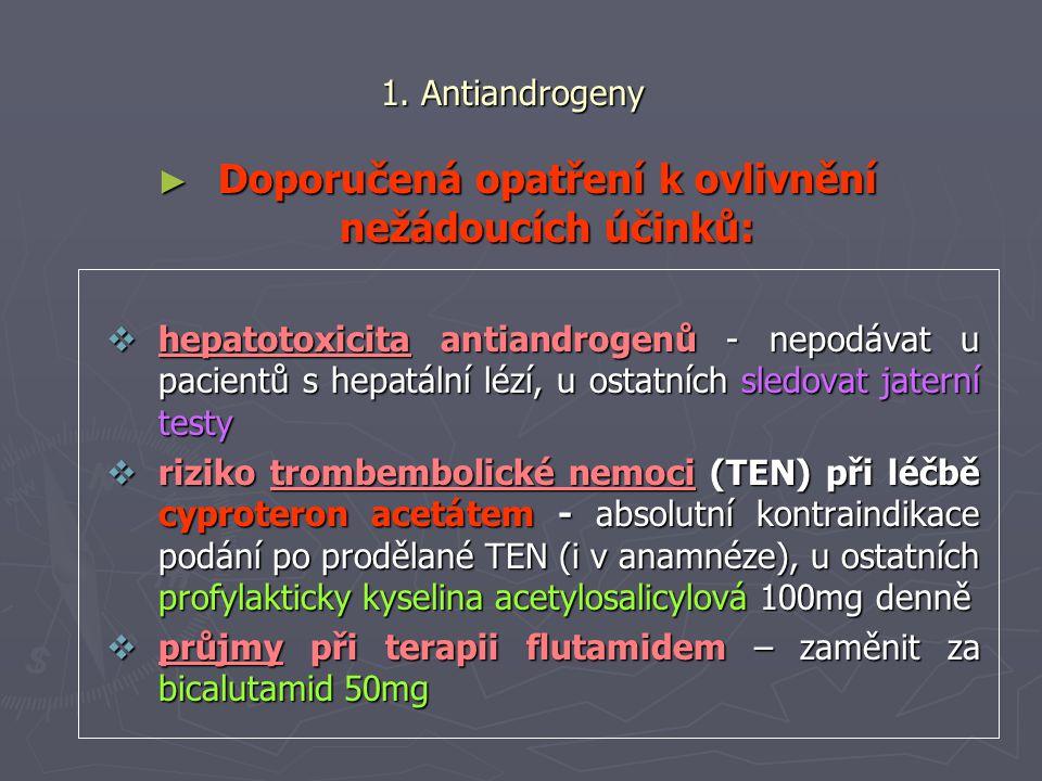 1. Antiandrogeny ► Doporučená opatření k ovlivnění nežádoucích účinků:  hepatotoxicita antiandrogenů - nepodávat u pacientů s hepatální lézí, u ostat
