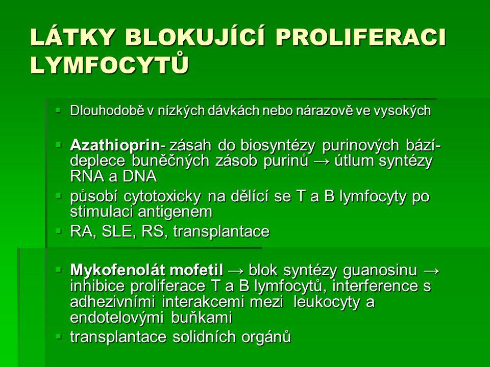 LÁTKY BLOKUJÍCÍ PROLIFERACI LYMFOCYTŮ  Dlouhodobě v nízkých dávkách nebo nárazově ve vysokých  Azathioprin- zásah do biosyntézy purinových bází- deplece buněčných zásob purinů → útlum syntézy RNA a DNA  působí cytotoxicky na dělící se T a B lymfocyty po stimulaci antigenem  RA, SLE, RS, transplantace  Mykofenolát mofetil → blok syntézy guanosinu → inhibice proliferace T a B lymfocytů, interference s adhezivními interakcemi mezi leukocyty a endotelovými buňkami  transplantace solidních orgánů