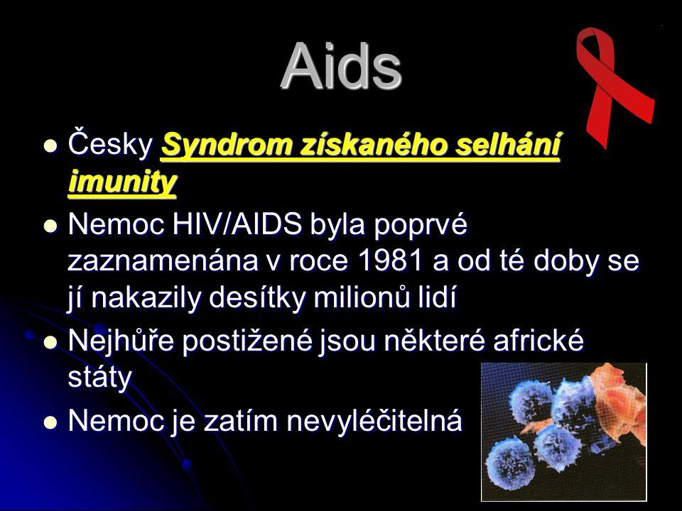 Aids Česky Syndrom získaného selhání imunity Česky Syndrom získaného selhání imunity Nemoc HIV/AIDS byla poprvé zaznamenána v roce 1981 a od té doby s