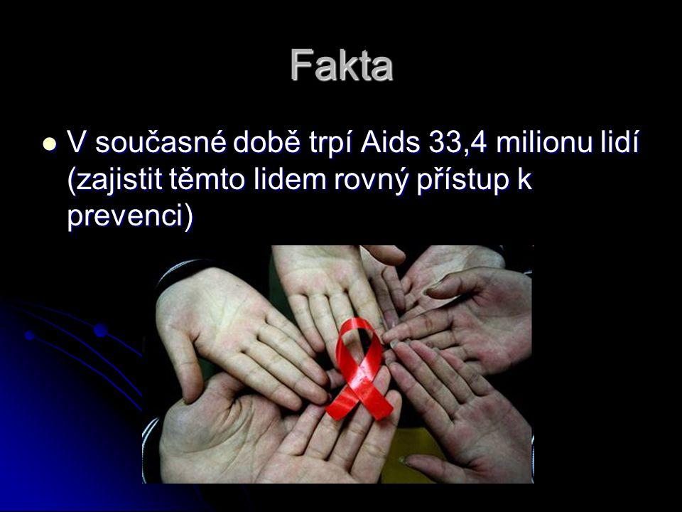 Fakta V současné době trpí Aids 33,4 milionu lidí (zajistit těmto lidem rovný přístup k prevenci) V současné době trpí Aids 33,4 milionu lidí (zajisti