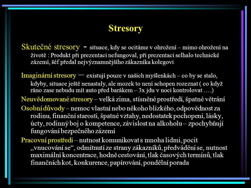 Stresory Skutečné stresory - situace, kdy se ocitáme v ohrožení – mimo ohrožení na životě : Produkt při prezentaci nefungoval, při prezentaci selhalo
