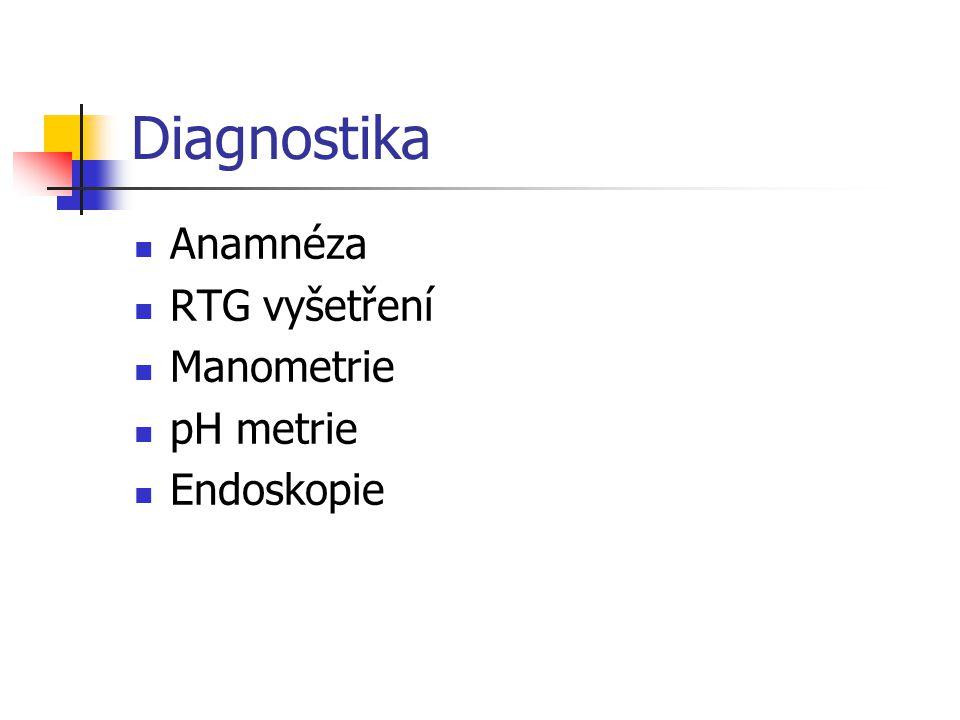 Diagnostika Anamnéza RTG vyšetření Manometrie pH metrie Endoskopie