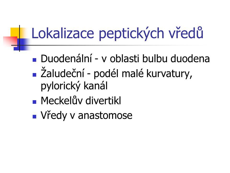 Lokalizace peptických vředů Duodenální - v oblasti bulbu duodena Žaludeční - podél malé kurvatury, pylorický kanál Meckelův divertikl Vředy v anastomo