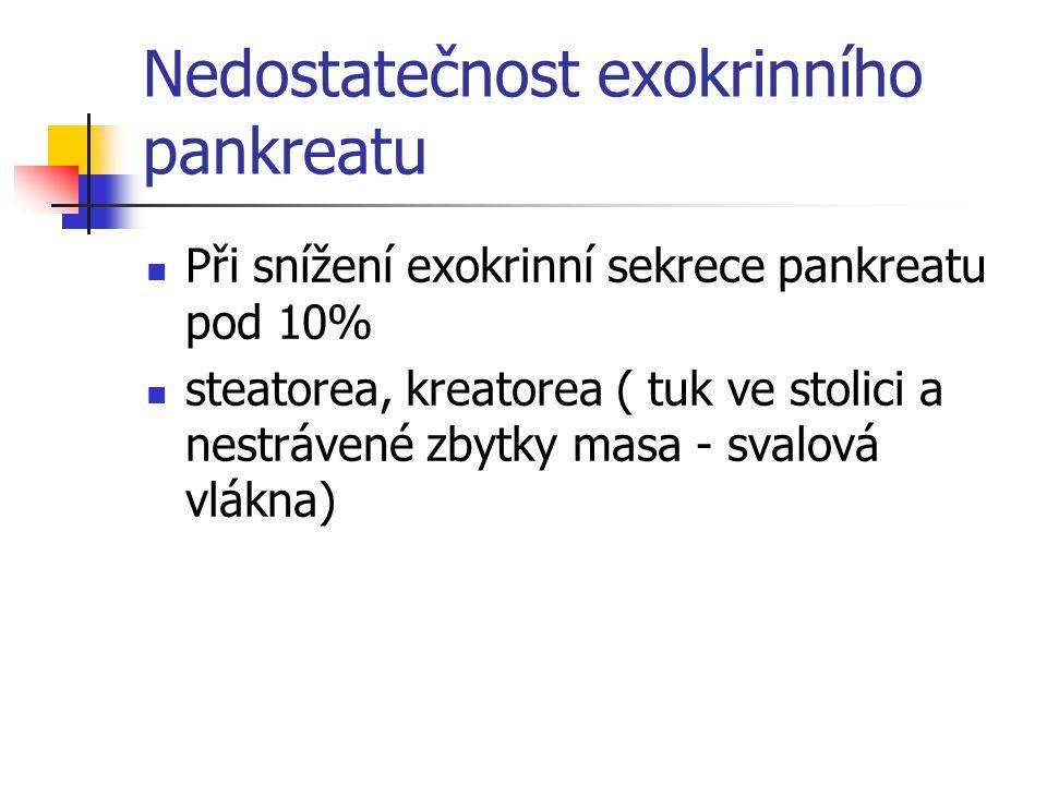 Nedostatečnost exokrinního pankreatu Při snížení exokrinní sekrece pankreatu pod 10% steatorea, kreatorea ( tuk ve stolici a nestrávené zbytky masa -