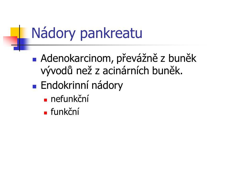 Nádory pankreatu Adenokarcinom, převážně z buněk vývodů než z acinárních buněk. Endokrinní nádory nefunkční funkční