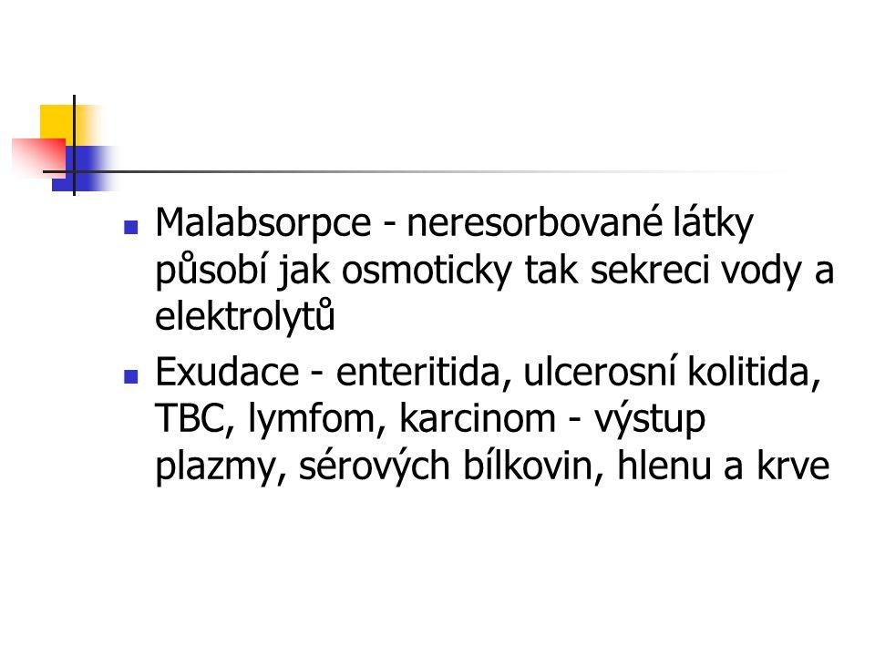 Malabsorpce - neresorbované látky působí jak osmoticky tak sekreci vody a elektrolytů Exudace - enteritida, ulcerosní kolitida, TBC, lymfom, karcinom