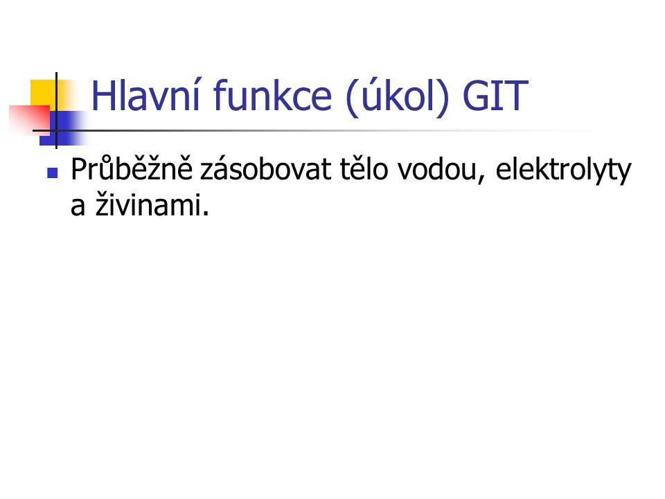 Hlavní funkce (úkol) GIT Průběžně zásobovat tělo vodou, elektrolyty a živinami.