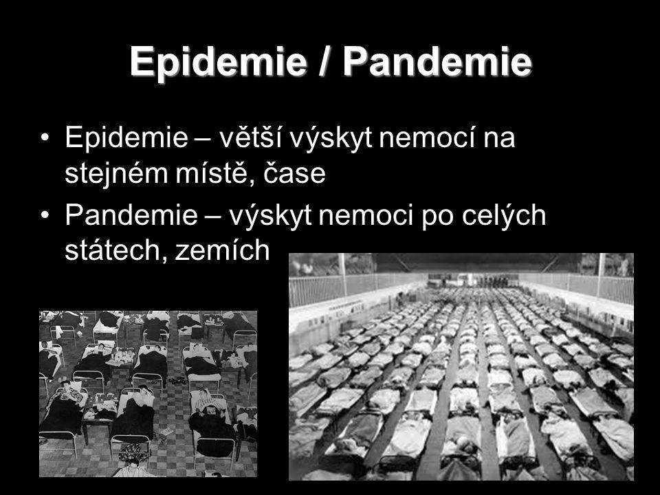 Epidemie / Pandemie Epidemie – větší výskyt nemocí na stejném místě, čase Pandemie – výskyt nemoci po celých státech, zemích