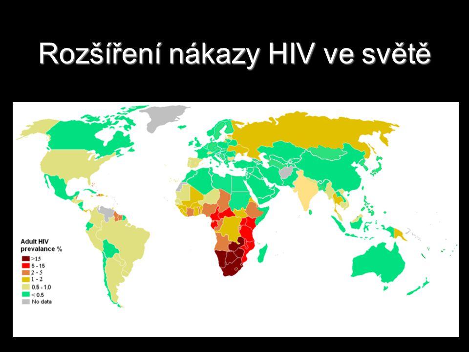 Rozšíření nákazy HIV ve světě