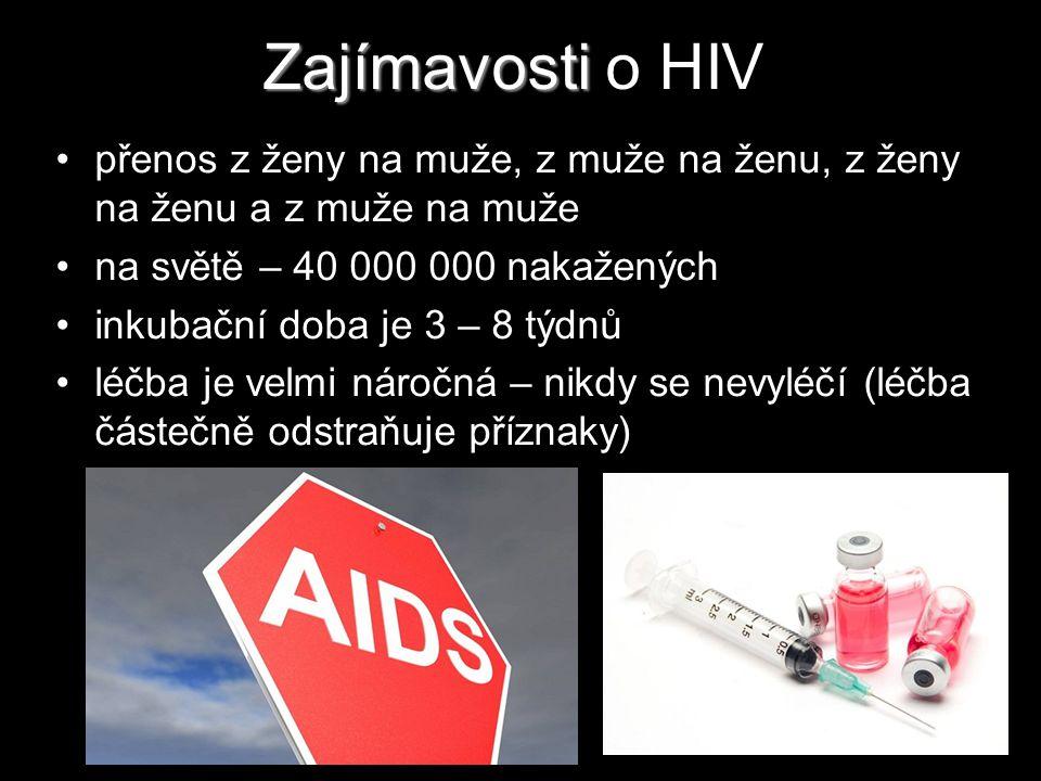Zajímavosti Zajímavosti o HIV přenos z ženy na muže, z muže na ženu, z ženy na ženu a z muže na muže na světě – 40 000 000 nakažených inkubační doba j