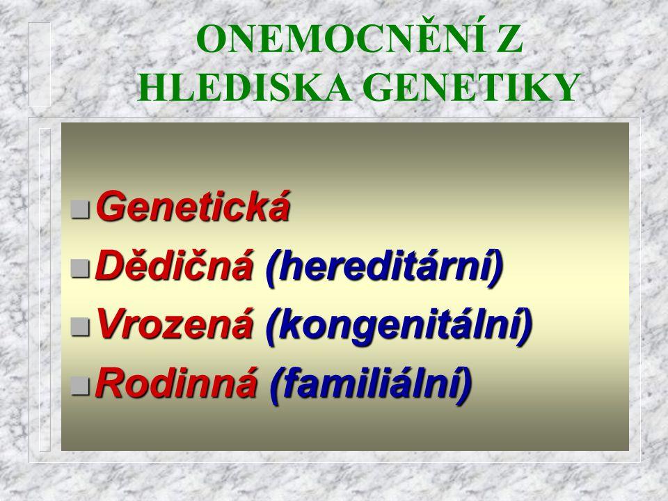 ONEMOCNĚNÍ Z HLEDISKA GENETIKY n Genetická n Dědičná n Dědičná (hereditární) n Vrozená n Vrozená (kongenitální) n Rodinná n Rodinná (familiální)