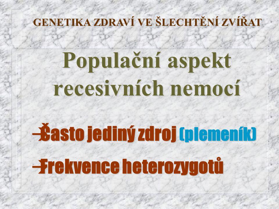 Populační aspekt recesivních nemocí GENETIKA ZDRAVÍ VE ŠLECHTĚNÍ ZVÍŘAT àČasto jediný zdroj (plemeník) àFrekvence heterozygotů