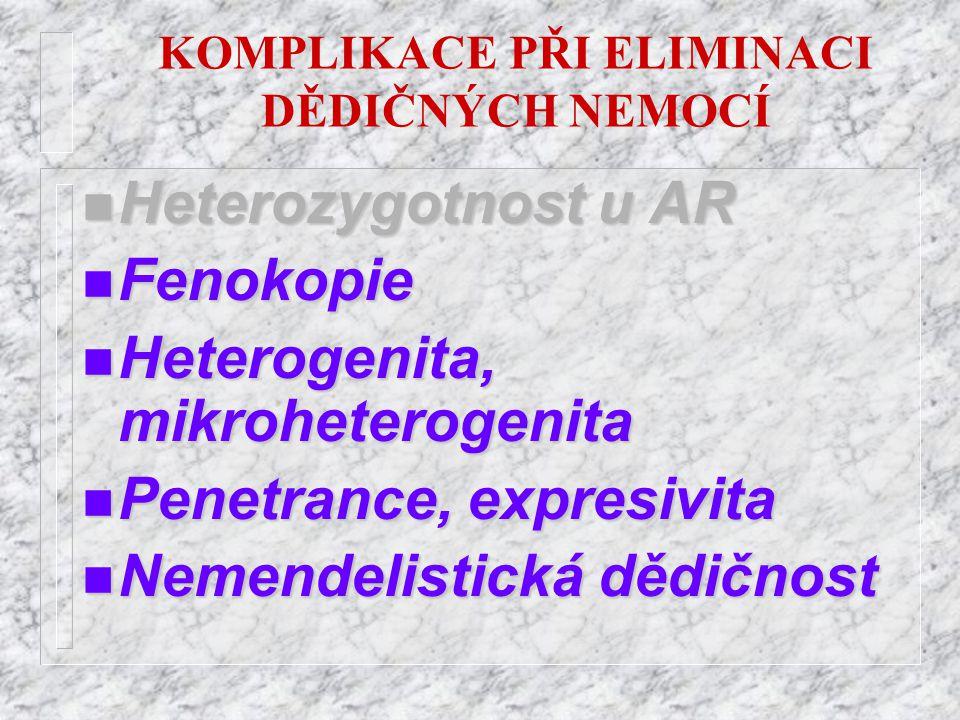 KOMPLIKACE PŘI ELIMINACI DĚDIČNÝCH NEMOCÍ n Heterozygotnost n Heterozygotnost u AR n Fenokopie n Heterogenita, mikroheterogenita n Penetrance, n Penet