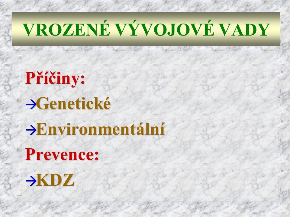 VROZENÉ VÝVOJOVÉ VADY Příčiny: à Genetické à Environmentální Prevence: à KDZ