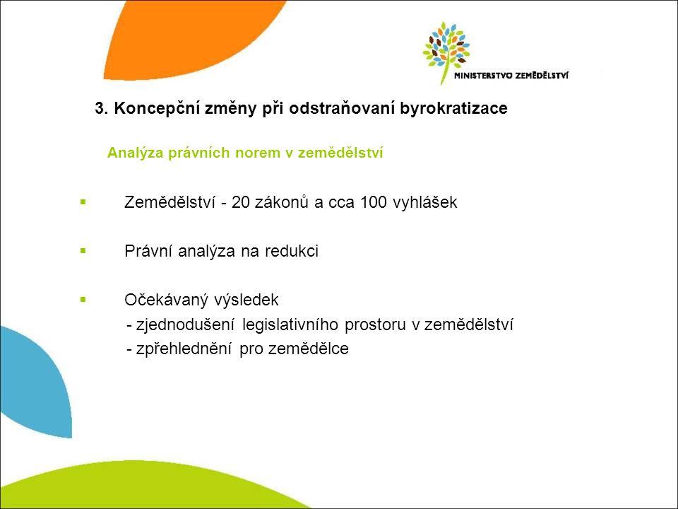 3. Koncepční změny při odstraňovaní byrokratizace  Zemědělství - 20 zákonů a cca 100 vyhlášek  Právní analýza na redukci  Očekávaný výsledek - zjed