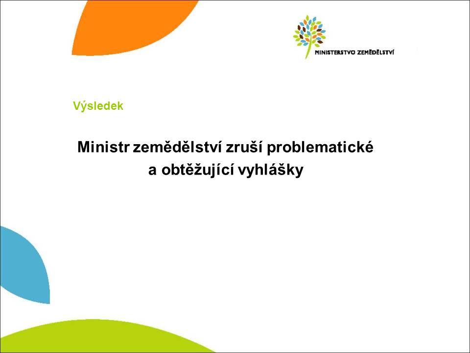 Ministr zemědělství zruší problematické a obtěžující vyhlášky Výsledek