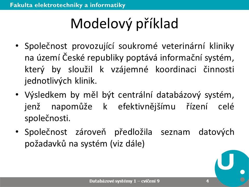 Modelový příklad Společnost provozující soukromé veterinární kliniky na území České republiky poptává informační systém, který by sloužil k vzájemné koordinaci činnosti jednotlivých klinik.