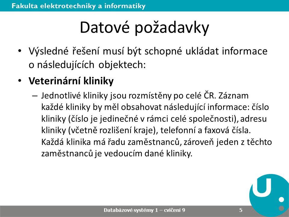 Datové požadavky Výsledné řešení musí být schopné ukládat informace o následujících objektech: Veterinární kliniky – Jednotlivé kliniky jsou rozmístěny po celé ČR.