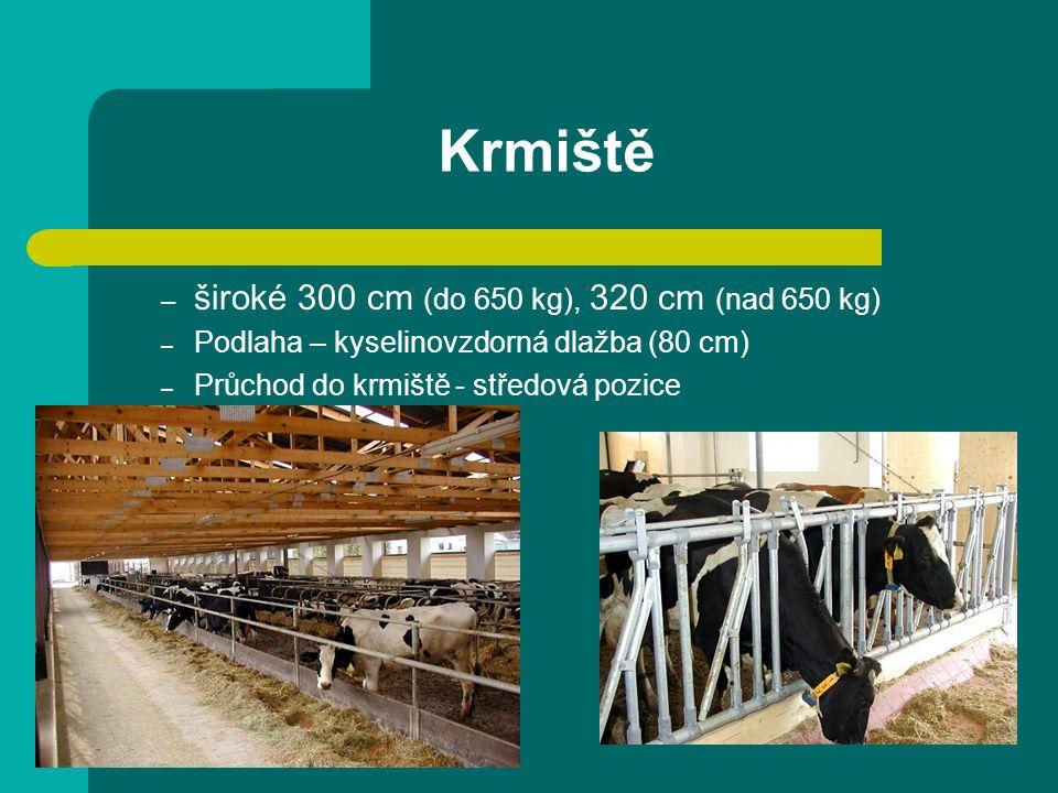 Krmiště – široké 300 cm (do 650 kg), 320 cm (nad 650 kg) – Podlaha – kyselinovzdorná dlažba (80 cm) – Průchod do krmiště - středová pozice