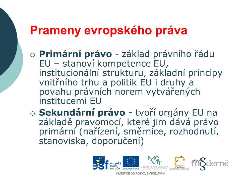 Prameny evropského práva  Primární právo - základ právního řádu EU – stanoví kompetence EU, institucionální strukturu, základní principy vnitřního tr
