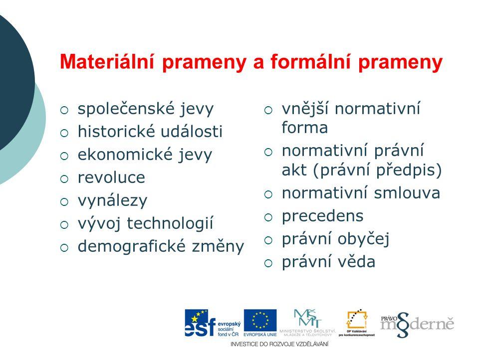 Materiální prameny a formální prameny  společenské jevy  historické události  ekonomické jevy  revoluce  vynálezy  vývoj technologií  demografi