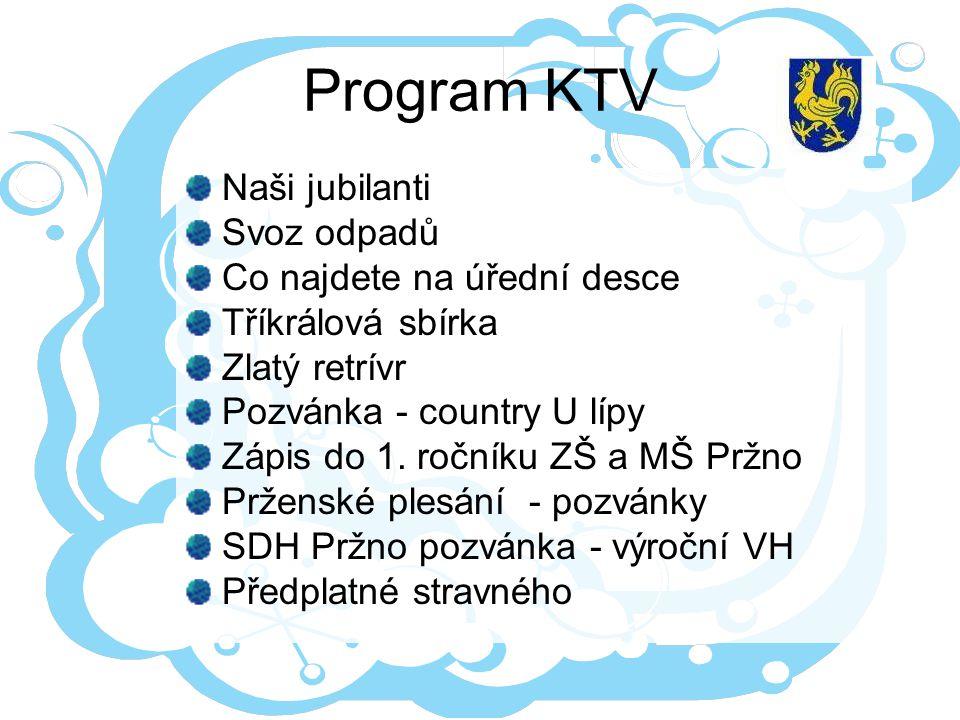 Program KTV Naši jubilanti Svoz odpadů Co najdete na úřední desce Tříkrálová sbírka Zlatý retrívr Pozvánka - country U lípy Zápis do 1.