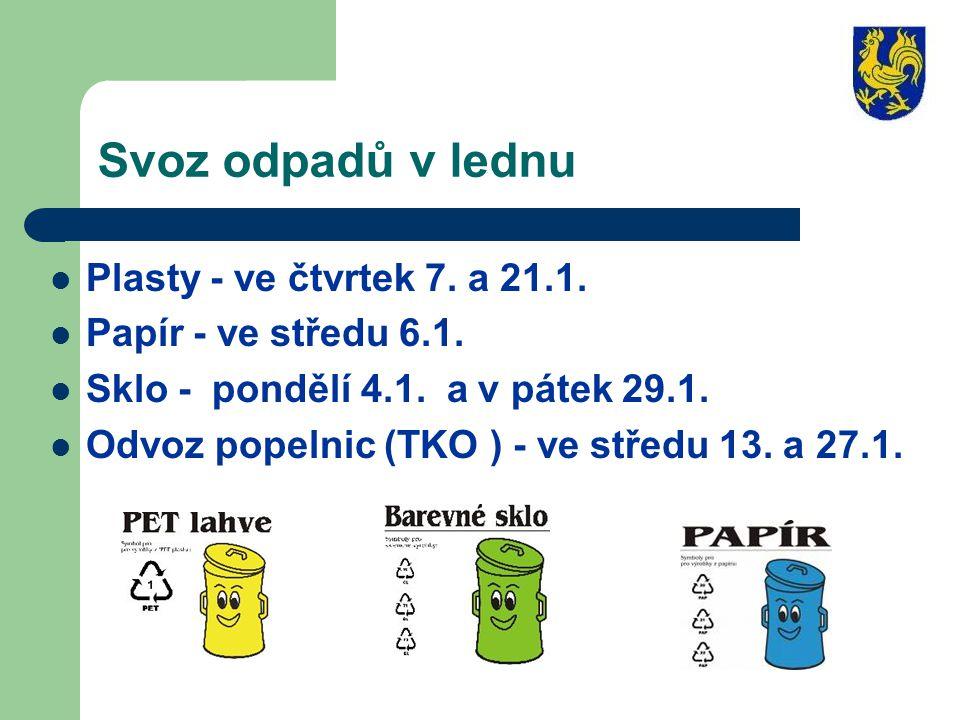 Svoz odpadů v lednu Plasty - ve čtvrtek 7. a 21.1.