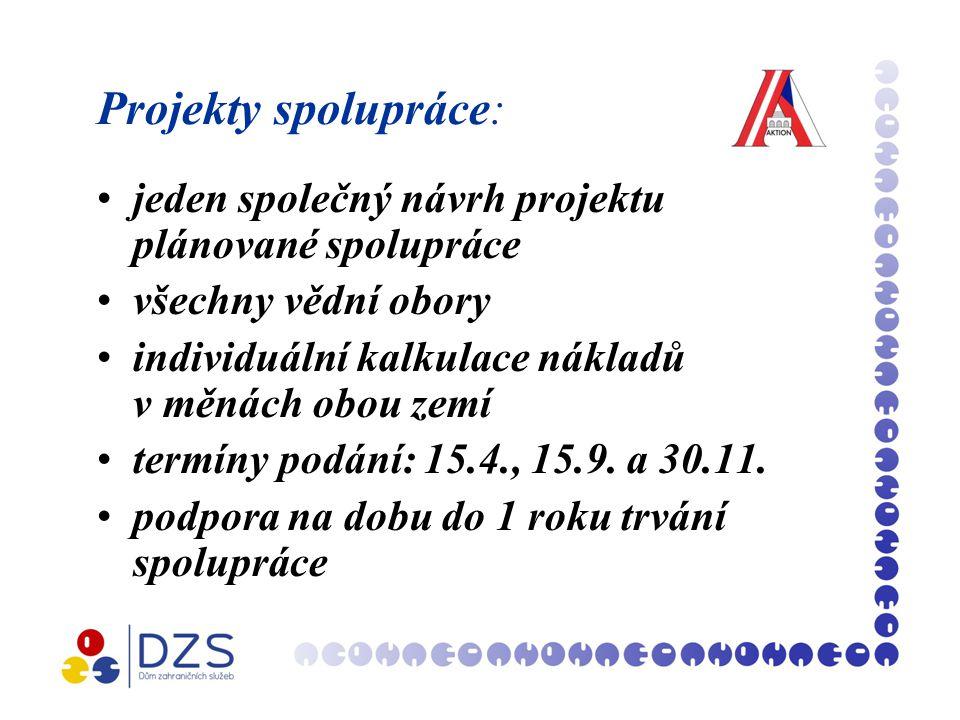 Projekty spolupráce: jeden společný návrh projektu plánované spolupráce všechny vědní obory individuální kalkulace nákladů v měnách obou zemí termíny podání: 15.4., 15.9.