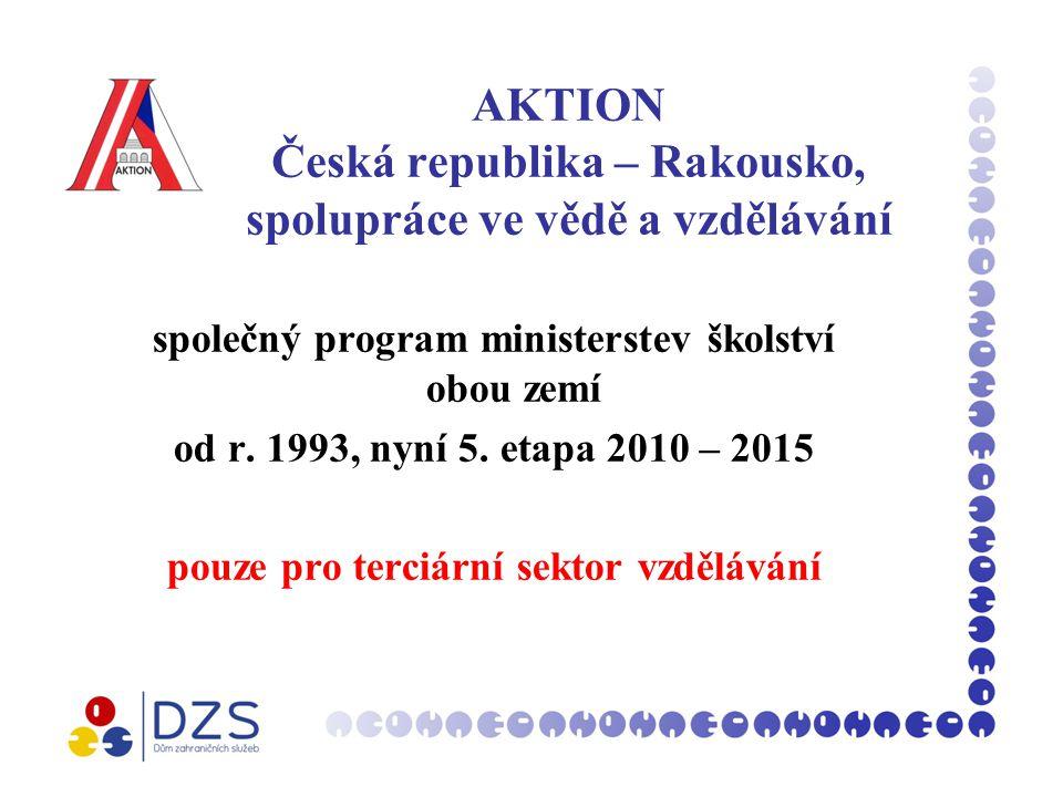 AKTION Česká republika – Rakousko, spolupráce ve vědě a vzdělávání společný program ministerstev školství obou zemí od r.