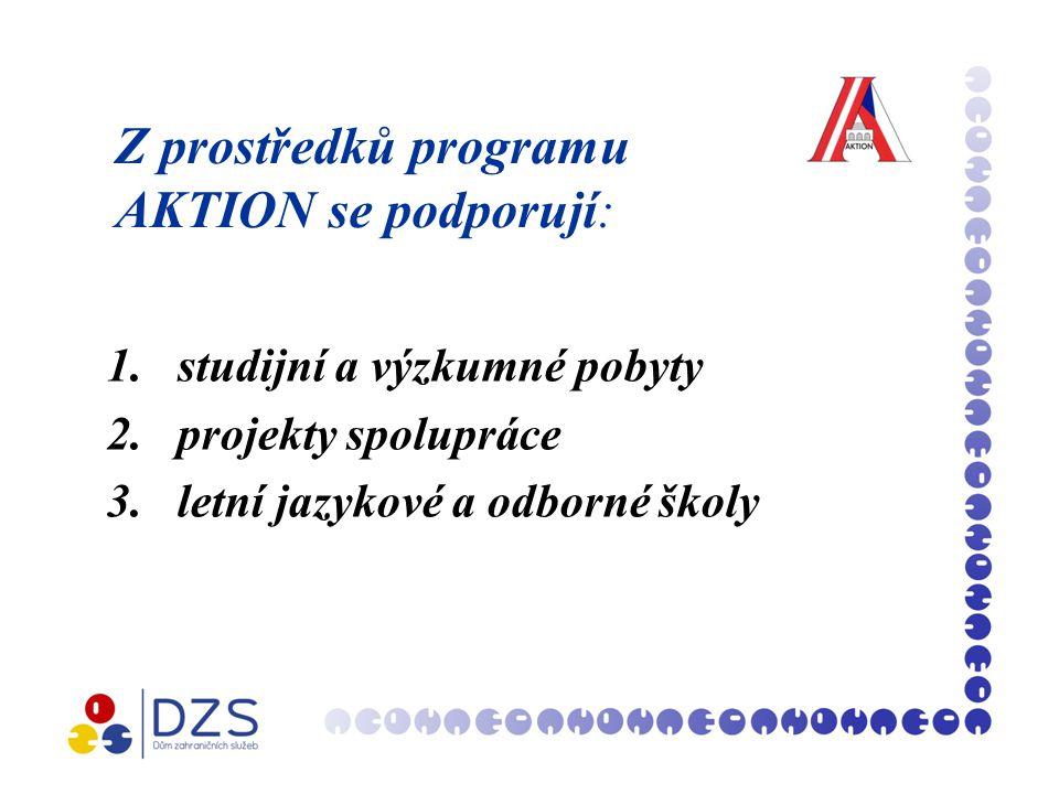 Z prostředků programu AKTION se podporují: 1.studijní a výzkumné pobyty 2.projekty spolupráce 3.letní jazykové a odborné školy