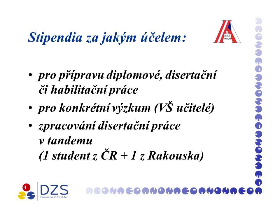 Stipendia za jakým účelem: pro přípravu diplomové, disertační či habilitační práce pro konkrétní výzkum (VŠ učitelé) zpracování disertační práce v tandemu (1 student z ČR + 1 z Rakouska)
