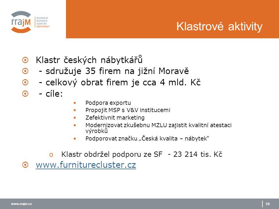 www.rrajm.cz 10 Klastrové aktivity  Klastr českých nábytkářů  - sdružuje 35 firem na jižní Moravě  - celkový obrat firem je cca 4 mld. Kč  - cíle: