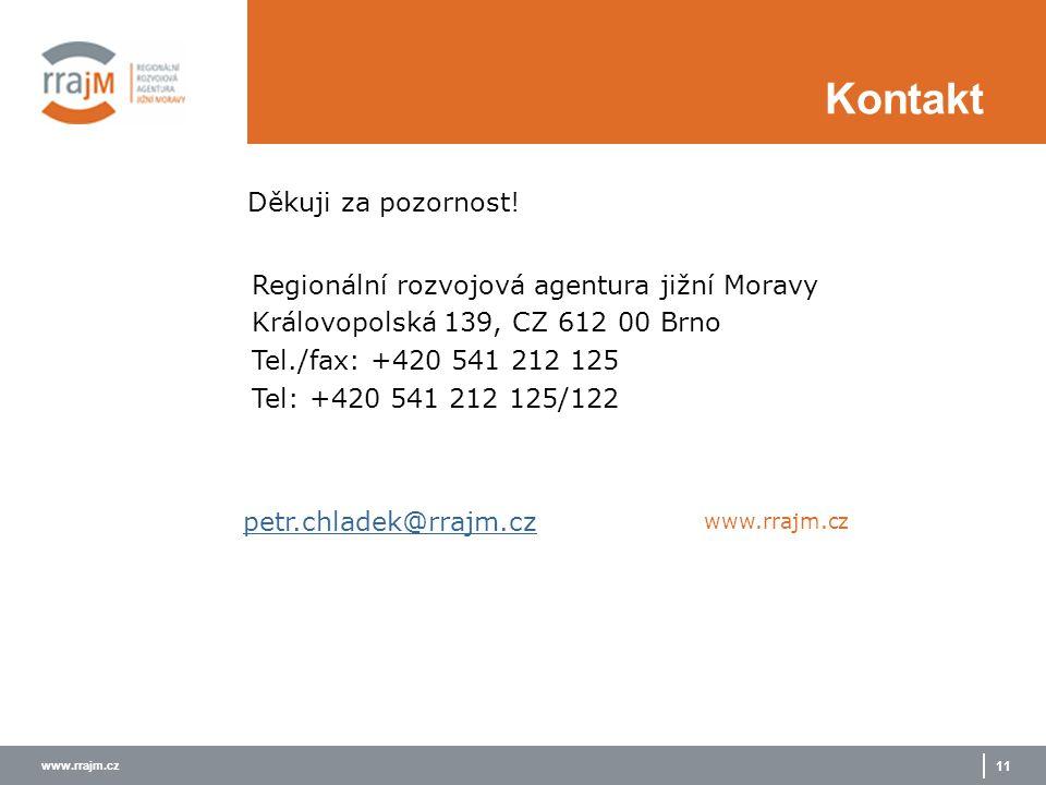 www.rrajm.cz 11 Děkuji za pozornost! Kontakt petr.chladek@rrajm.cz www.rrajm.cz Regionální rozvojová agentura jižní Moravy Královopolská 139, CZ 612 0