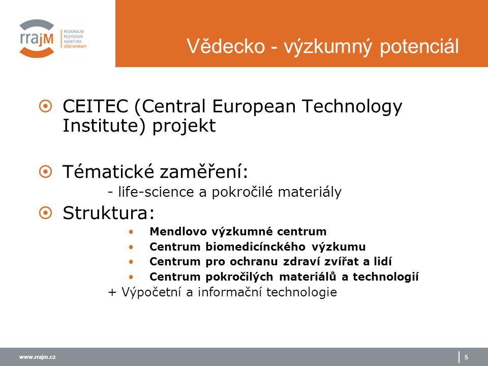 www.rrajm.cz 5 Vědecko - výzkumný potenciál  CEITEC (Central European Technology Institute) projekt  Tématické zaměření: - life-science a pokročilé