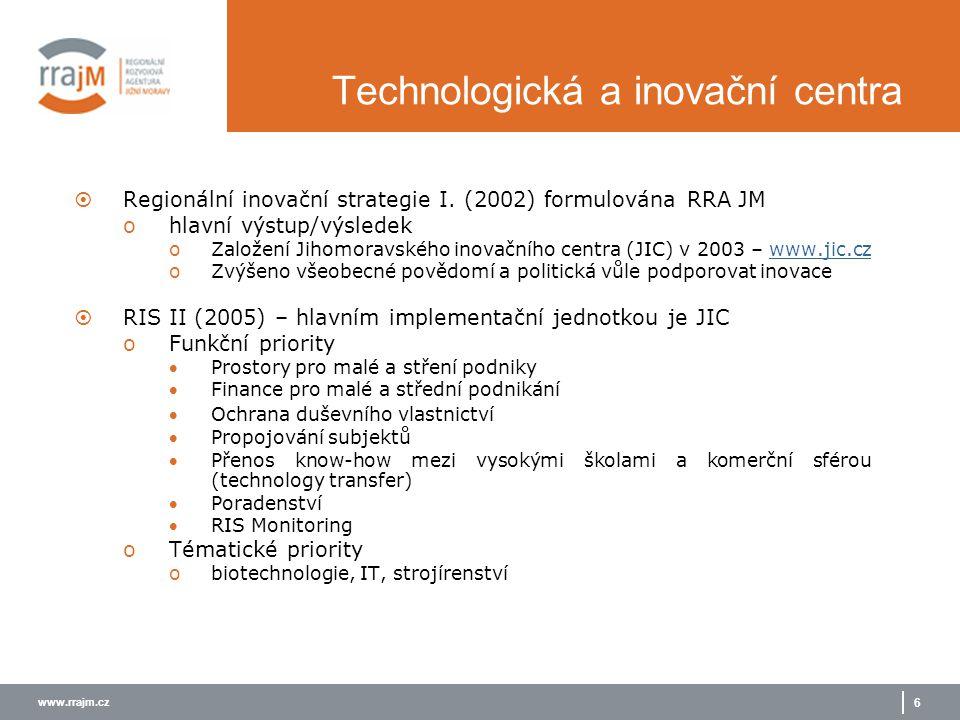 www.rrajm.cz 6 Technologická a inovační centra  Regionální inovační strategie I. (2002) formulována RRA JM ohlavní výstup/výsledek oZaložení Jihomora