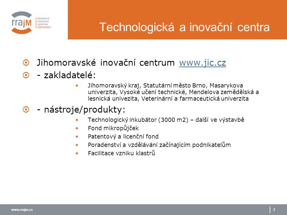 www.rrajm.cz 7 Technologická a inovační centra  Jihomoravské inovační centrum www.jic.czwww.jic.cz  - zakladatelé: Jihomoravský kraj, Statutární měs