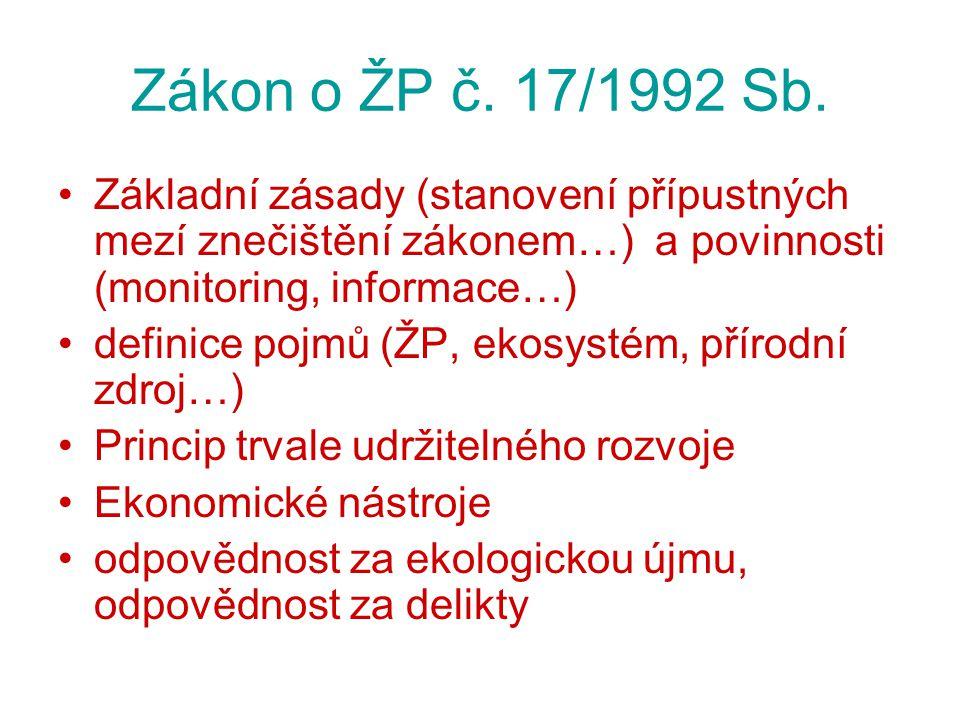 Organizace ochrany životního prostředí v ČR Vykonávají správní úřady: Z hlediska územní působnosti –ústřední (působí na celém území státu) –oblastní (regionální) –místní (lokální) Z hlediska věcné působnosti v ochraně ŽP –všeobecné –zvláštní