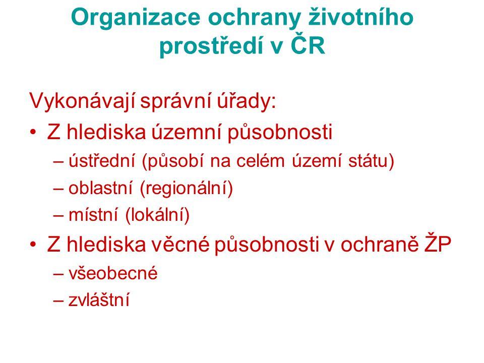 Organizace ochrany životního prostředí v ČR Vykonávají správní úřady: Z hlediska územní působnosti –ústřední (působí na celém území státu) –oblastní (